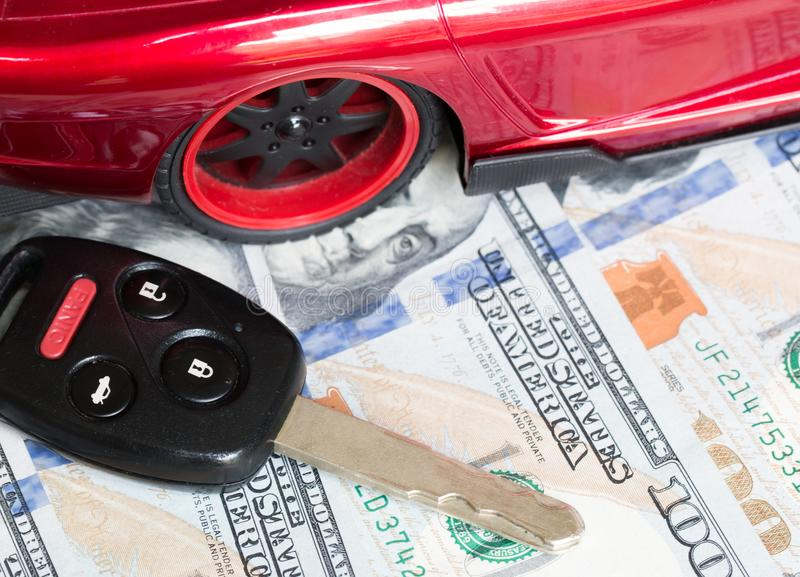 Car financing and sales for a dealership. Car financing and sales for a dealership showing united states currency stock photos