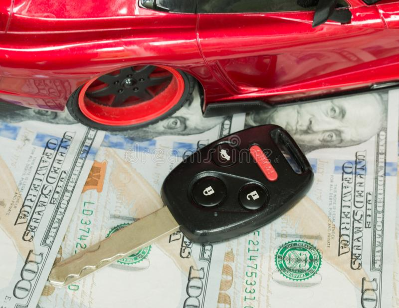 Car financing and sales for a dealership. Car financing and sales for a dealership showing united states currency royalty free stock photos