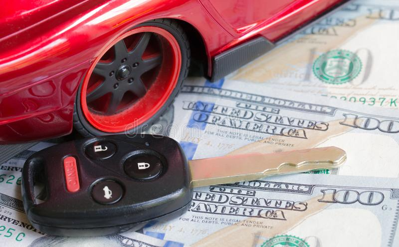 Car financing and sales for a dealership. Car financing and sales for a dealership showing united states currency stock photography