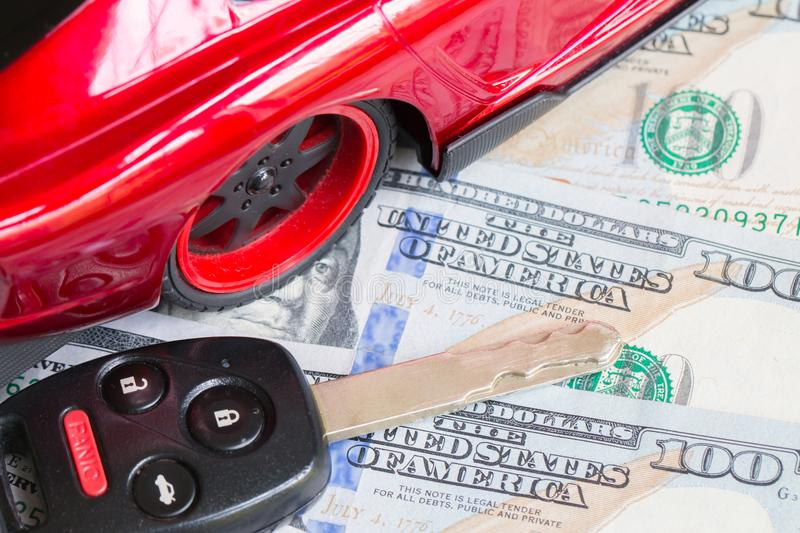 Car financing and sales for a dealership. Car financing and sales for a dealership showing united states currency stock images