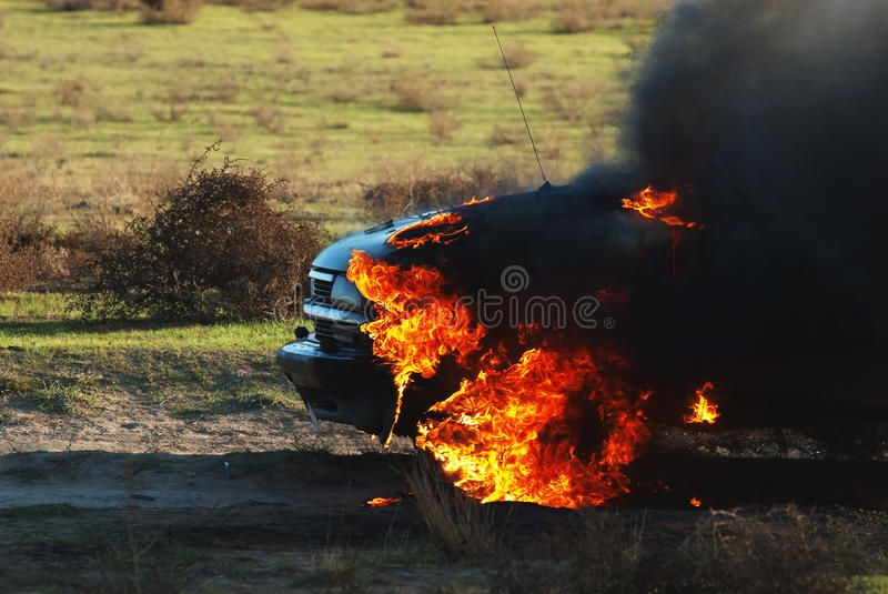 Car fire stock image