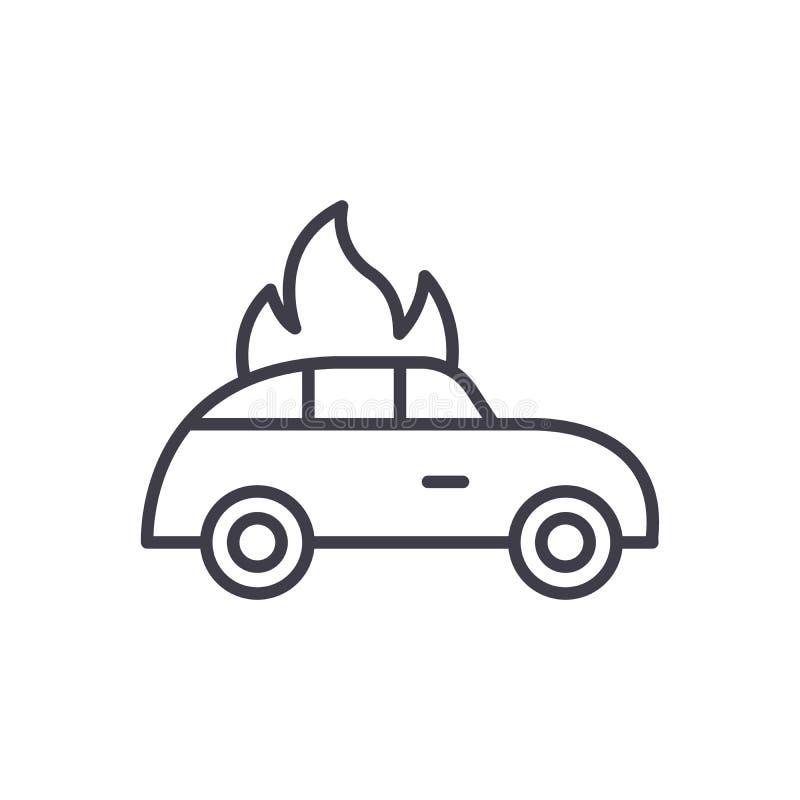 Car fire black icon concept. Car fire flat vector symbol, sign, illustration. vector illustration
