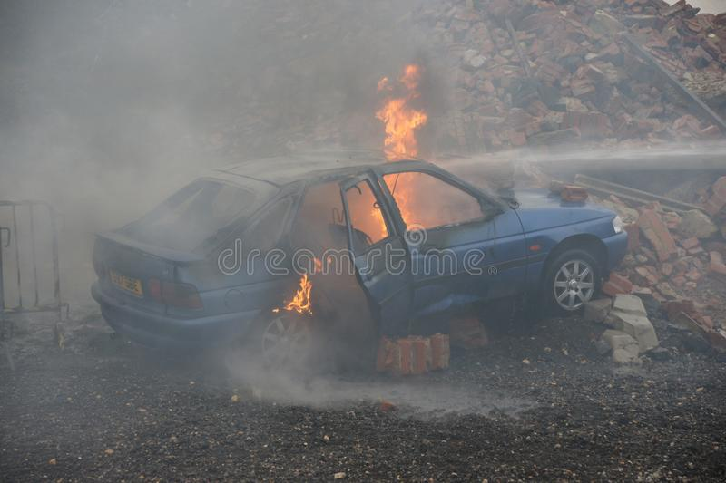 Car fire and explosion royalty free stock photos