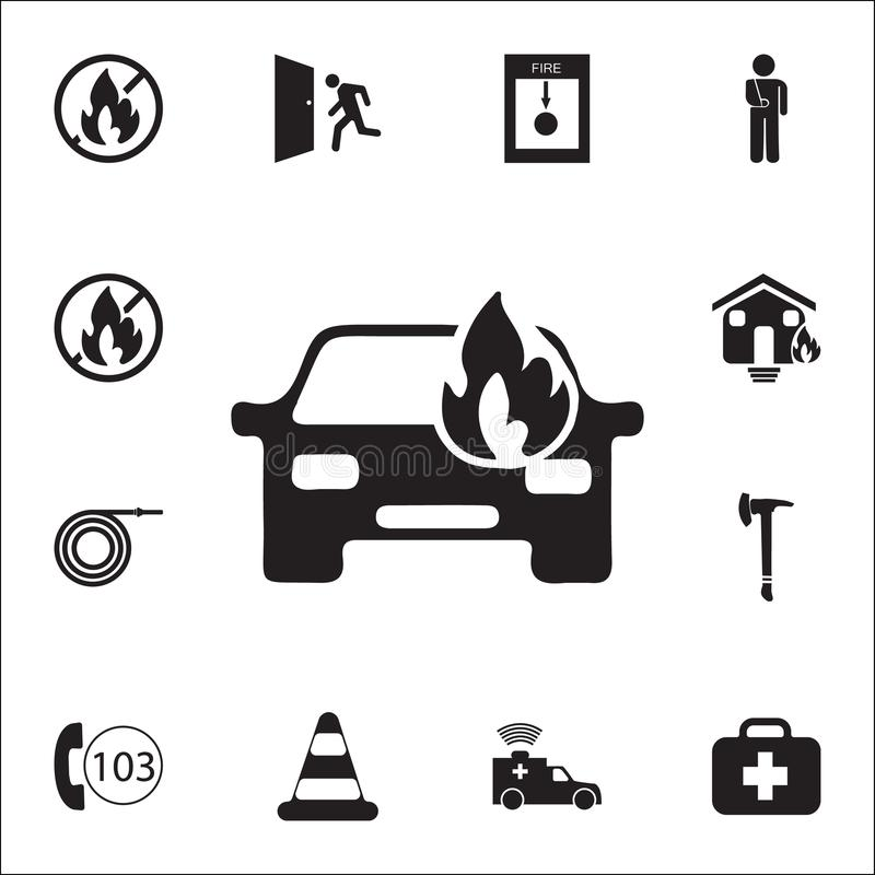car fired icon. Detailed set of fire guard icons. Premium quality graphic design sign. One of the collection icons for websites, w royalty free illustration