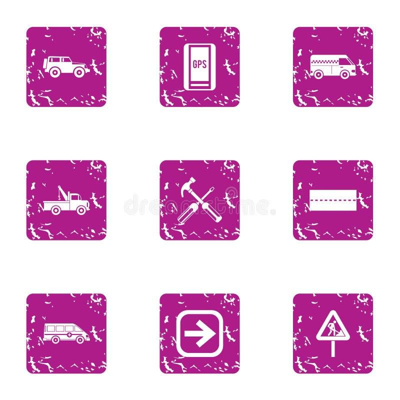 Car fix icons set, grunge style. Car fix icons set. Grunge set of 9 car fix vector icons for web isolated on white background royalty free illustration