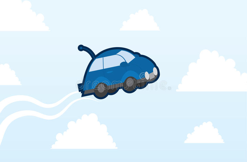 Download Car flying stock vector. Image of blue, floating, rubber - 27518254