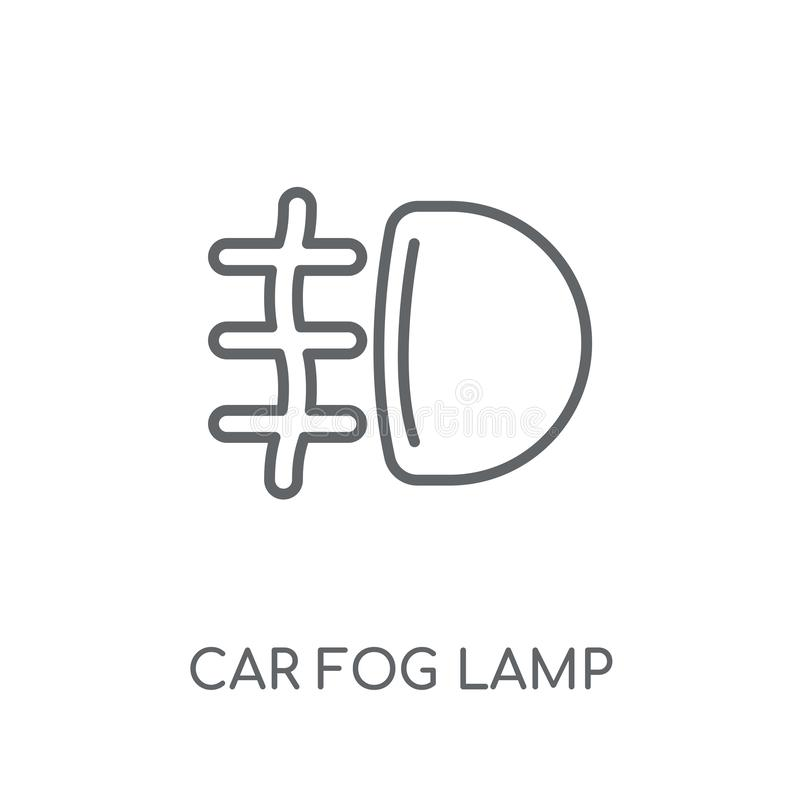 Car fog lamp linear icon. Modern outline car fog lamp logo conce. Pt on white background from car parts collection. Suitable for use on web apps, mobile apps and royalty free illustration