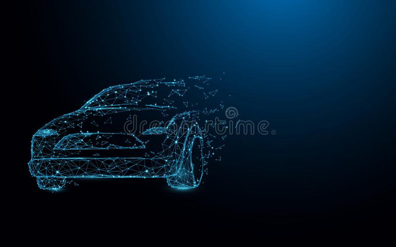 Car form lines, triangles and particle style design vector illustration