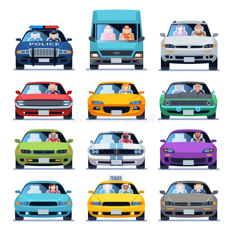 Car front view. Auto automotive people man woman child family urban drivers traffic vehicles driving cars set flat set vector illustration