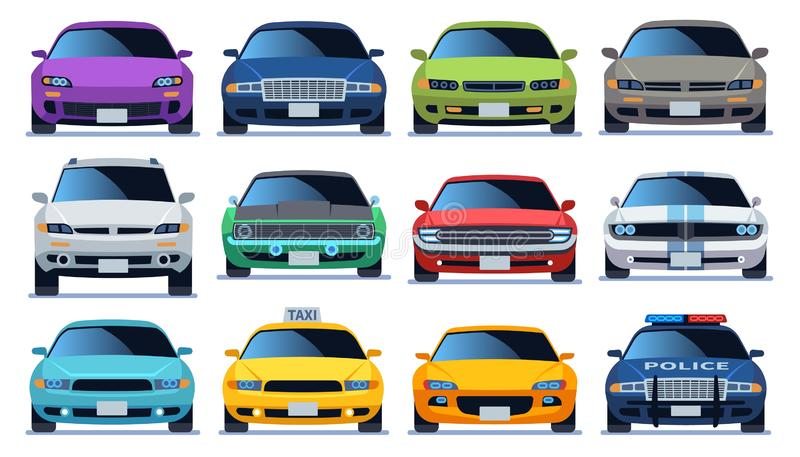 Car front view set. Urban city traffic vehicle model cars. Police and taxy color fast auto traffic driving flat vector royalty free illustration