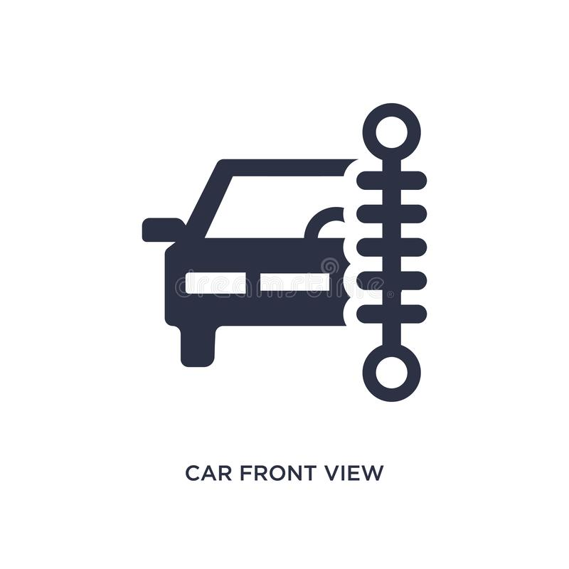 Car front view beside a traffic meter icon on white background. Simple element illustration from mechanicons concept stock illustration