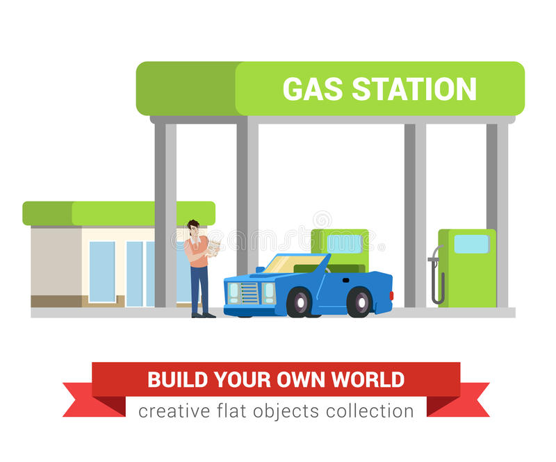 Car fuel refill process at gas refuel station in flat vector. Car fuel refill process at gas refuel station. Young man and cabriolet. Flat style modern vector illustration