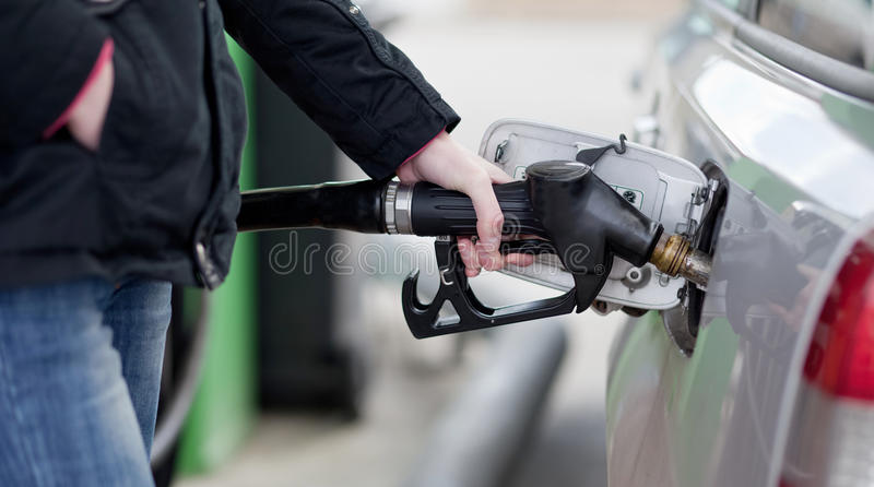 Download Car fueling stock image. Image of counter, green, building - 17399213