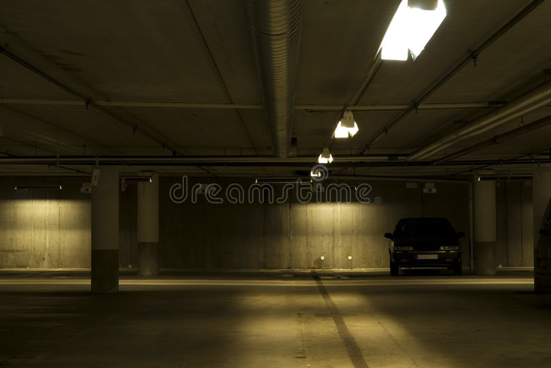Car in a garage stock images