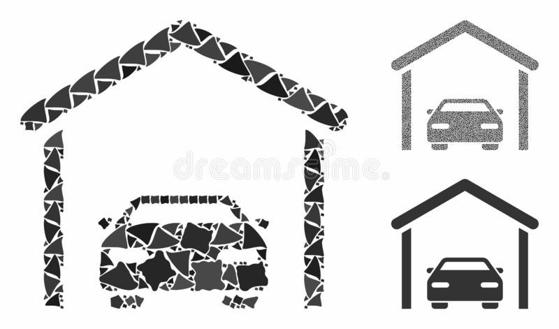 Car garage Composition Icon of Irregular Items. Car garage mosaic of uneven elements in different sizes and shades, based on car garage icon. Vector raggy pieces royalty free illustration