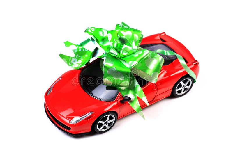 Car gift. Beautiful shot of car gift on white background royalty free stock images