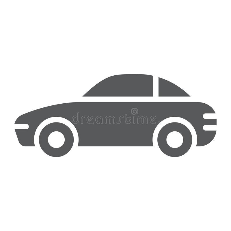 Car glyph icon, traffic and vehicle, automobile sign, vector graphics, a solid pattern on a white background. Car glyph icon, traffic and vehicle, automobile stock illustration