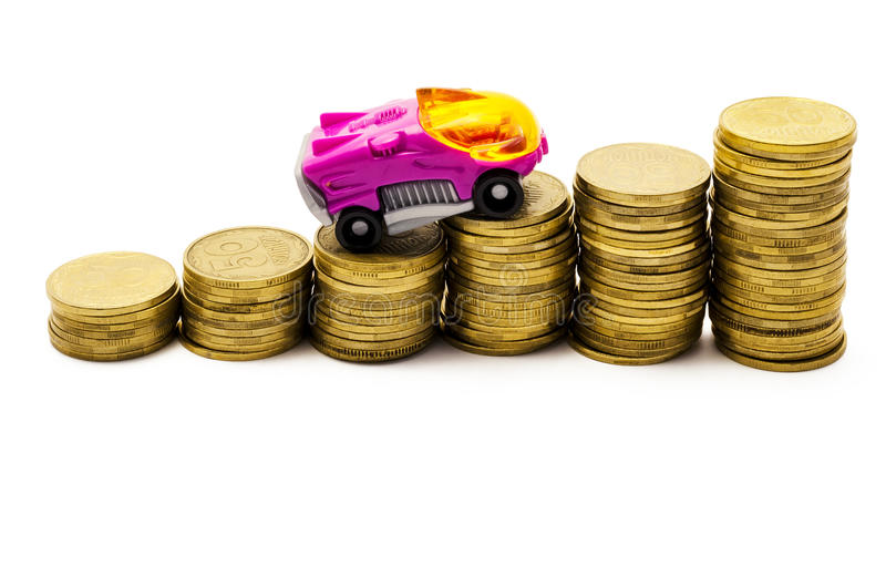 The car goes up after coins. On a white background stock photos