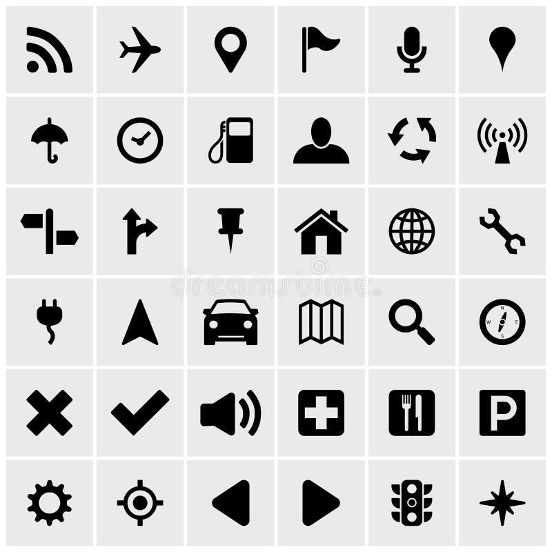 Car gps navigation system icon set. Car navigation gps system icon set in format royalty free illustration
