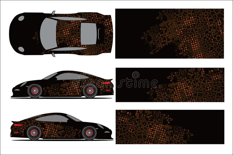 Car graphic ,abstract racing shape with modern race design for vehicle vinyl wrap stock illustration