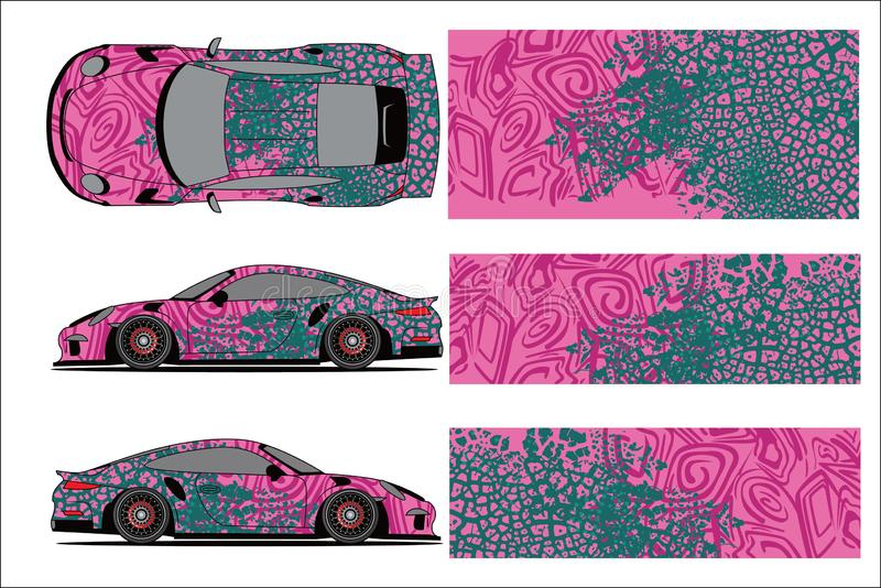 Car graphic vector,abstract racing shape with modern race design for vehicle vinyl wrap royalty free illustration