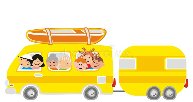 Car and great family. Yellow car and trailer. Great family, father, mother, grandmother, grandfather and three children. On the roof piggybacking canoe. Humorous royalty free illustration