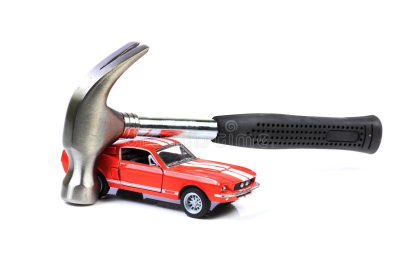 Car and hammmer stock photo