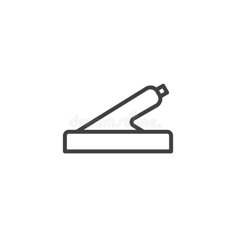 Car hand brake line icon. Linear style sign for mobile concept and web design. Handbrake outline vector icon. Symbol, logo illustration. Pixel perfect vector royalty free illustration