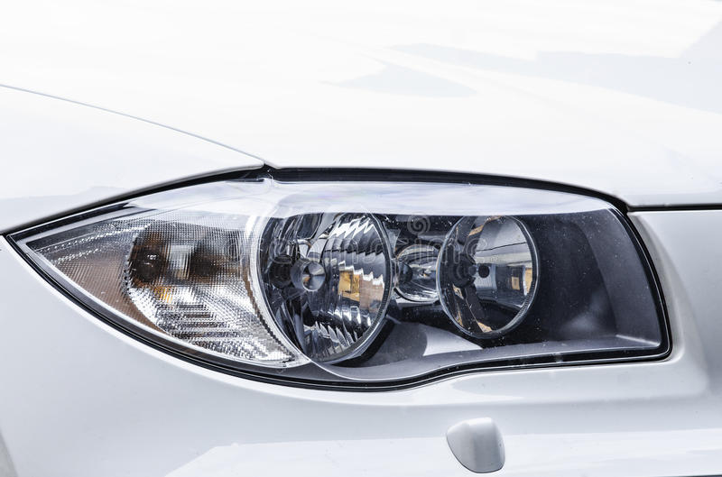 Sport car headlight stock images