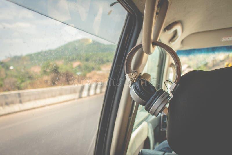 Car headphones and travel. In Myanmar stock photo