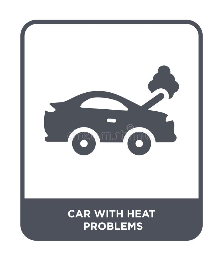 car with heat problems icon in trendy design style. car with heat problems icon isolated on white background. car with heat stock illustration