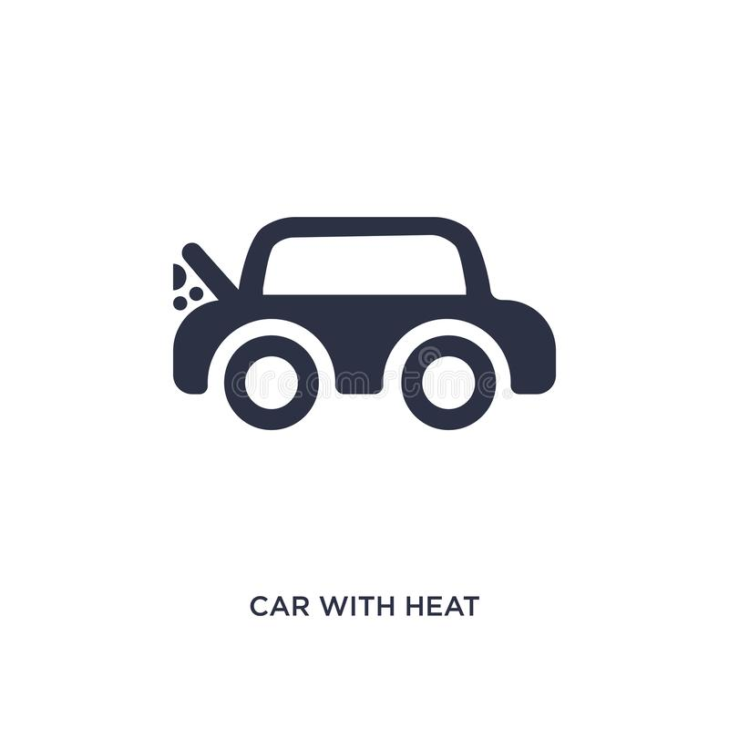 car with heat problems icon on white background. Simple element illustration from mechanicons concept royalty free illustration