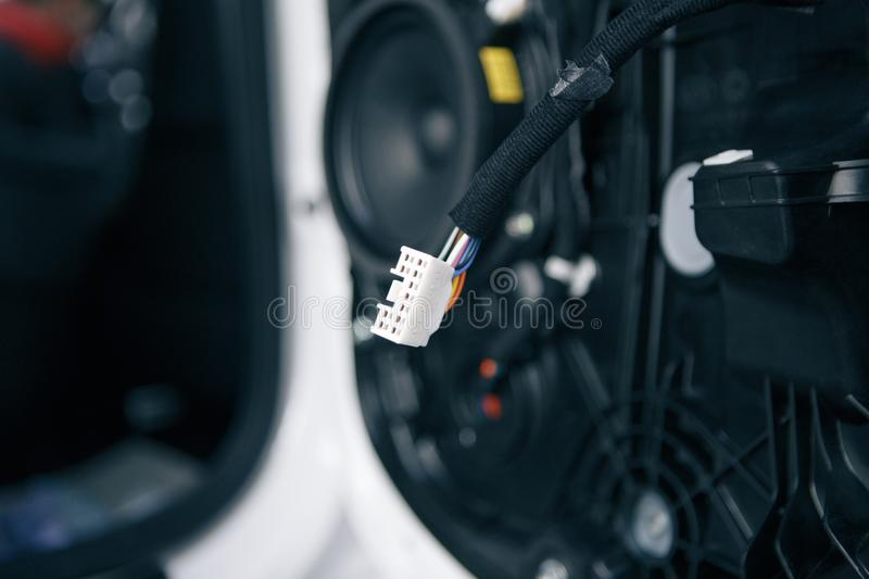 Car hifi audio tweeter speaker installed on front console for better treble sound image in a minibus with entertainment royalty free stock images