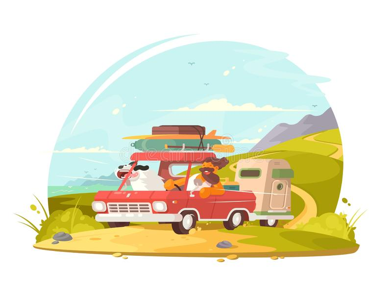 Man with dog go on vacation. Car on holiday. Man with dog go on vacation. illustration vector illustration