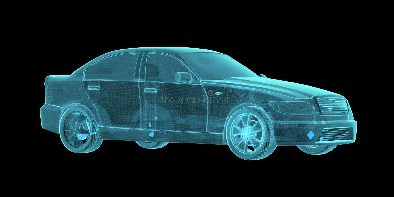 Car Hologram Wireframe. 3D Rendering on black background stock photos