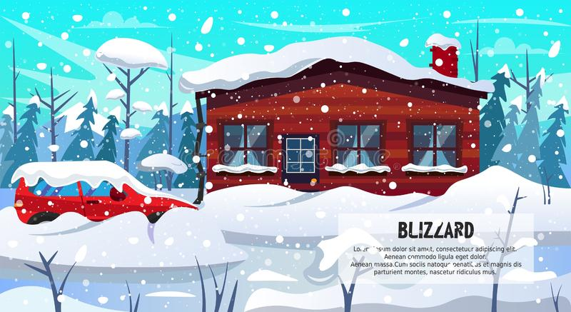 Car House Building in Forest Covered Snow Blizzard royalty free illustration