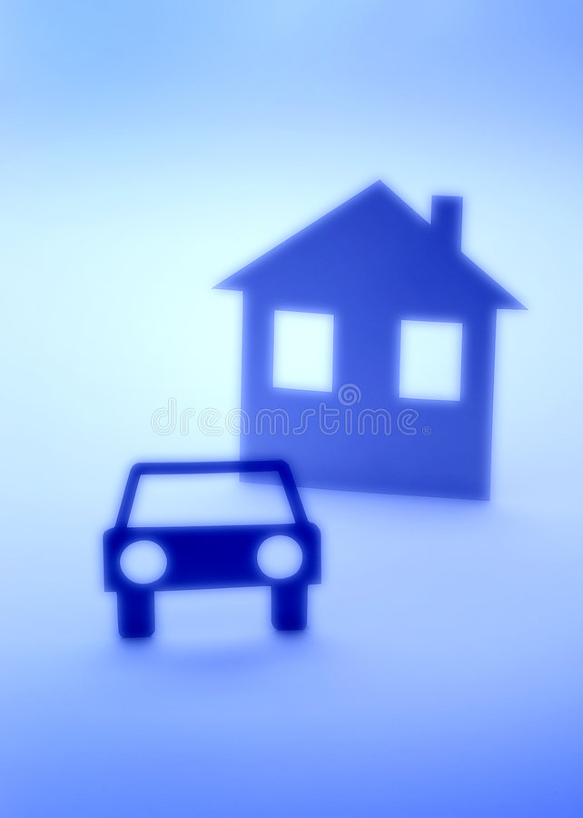 Car And House Insurance Abstract Silhouette Stock Photography