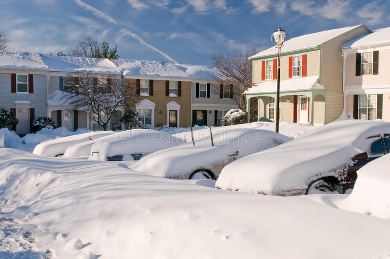Download Car And Houses After Snowstorm Stock Image - Image: 12912003