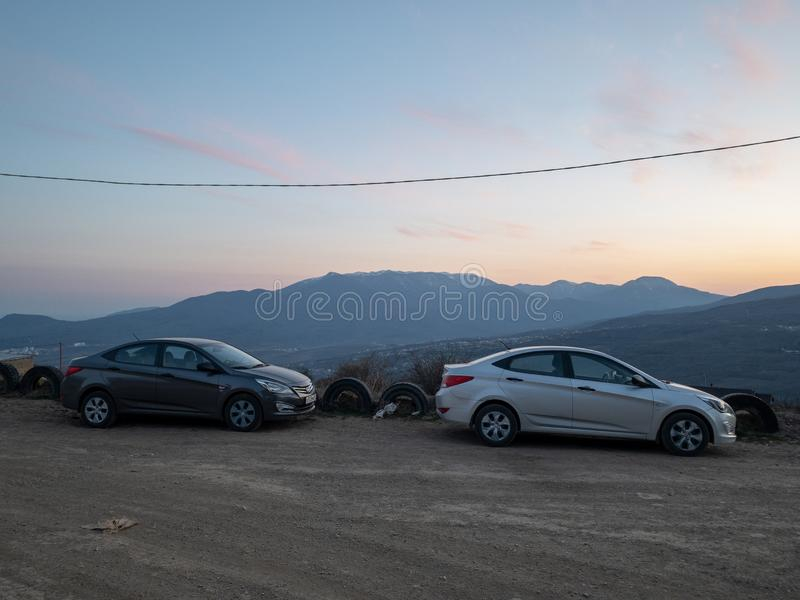 The car Hyundai Solaris is parked in nature. Giad Accent / Hyundai Avega / Hyundai Brio / Dodge Verna. Sevastopol, Republic of Crimea - March 23, 2019: The car royalty free stock photo