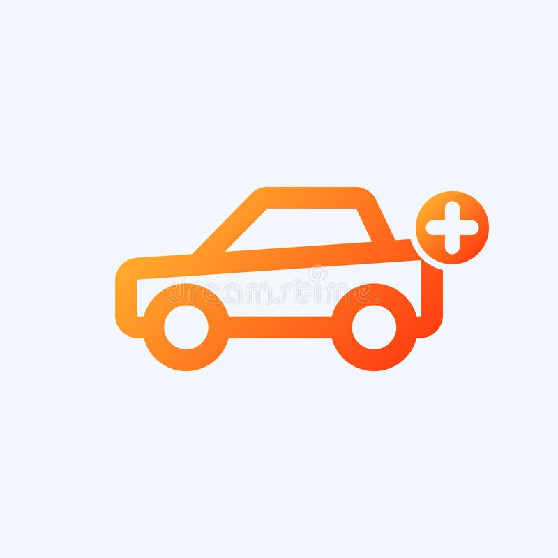 Car icon with add sign. Car icon and new, plus, positive symbol vector illustration