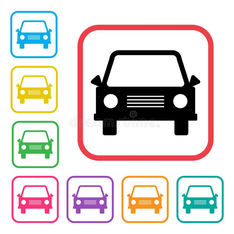Car icon. Black and colored silhouettes. Vector vector illustration