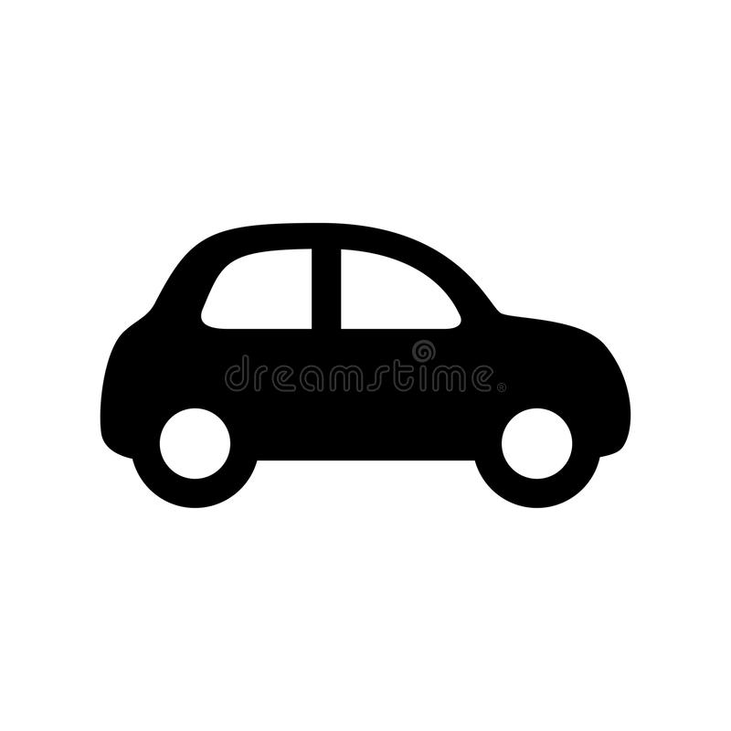 Car icon. Black car icon isolated on white royalty free illustration