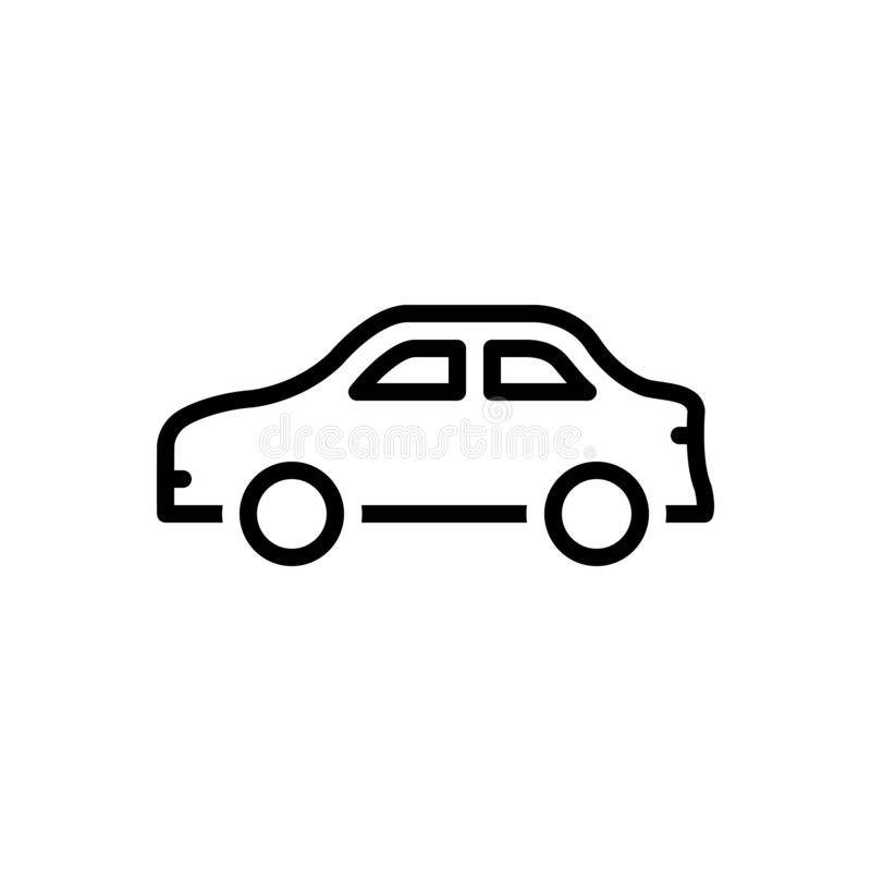Black line icon for Car, conveyance and carriage. Black line icon for Car, transportation, transit, vehicle,  conveyance and carriage vector illustration