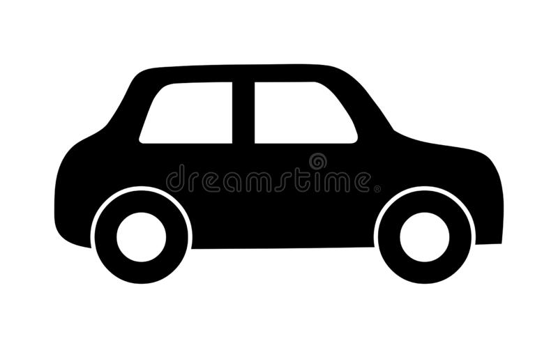 Car icon.Car logo black silhouette. Vector isolated on white background royalty free illustration