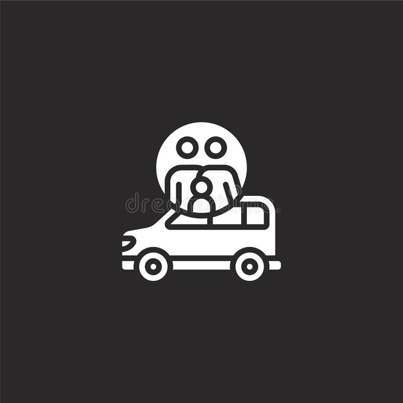 Car icon. Filled car icon for website design and mobile, app development. car icon from filled family collection isolated on black. Background vector illustration