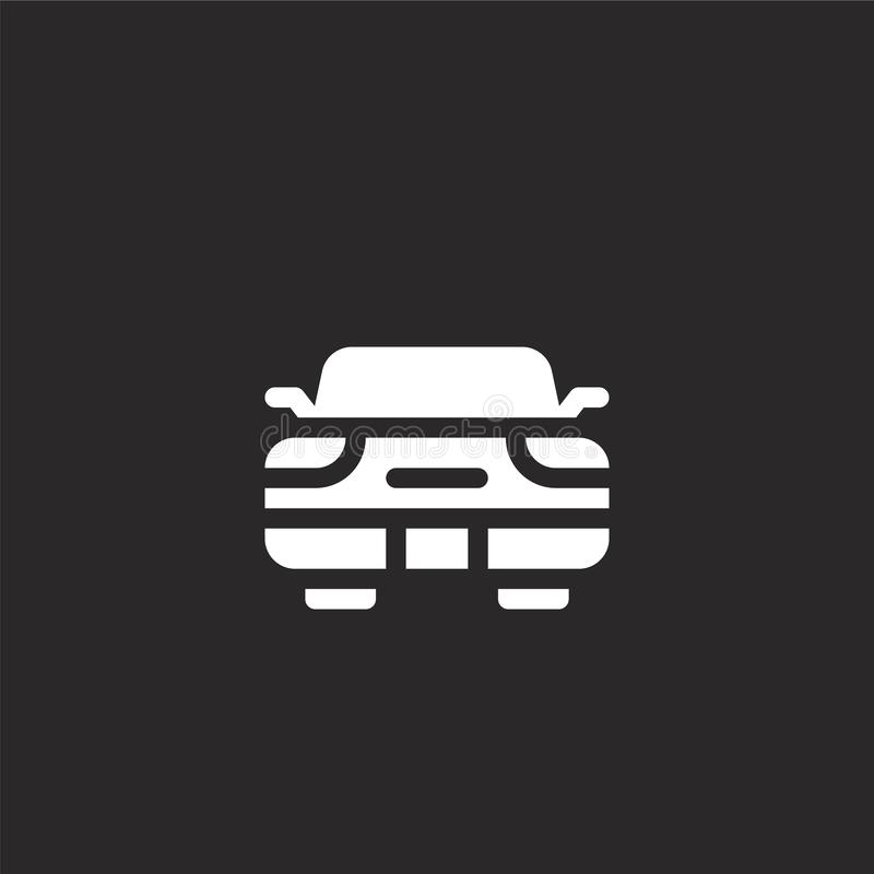 Car icon. Filled car icon for website design and mobile, app development. car icon from filled italy collection isolated on black. Background vector illustration