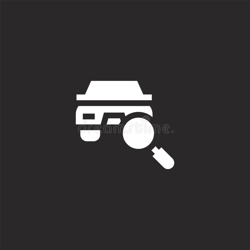 Car icon. Filled car icon for website design and mobile, app development. car icon from filled search collection isolated on black. Background royalty free illustration