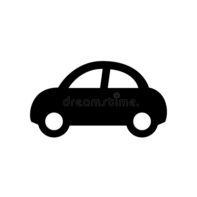 Car icon isolated on white. Black car icon isolated on white royalty free illustration