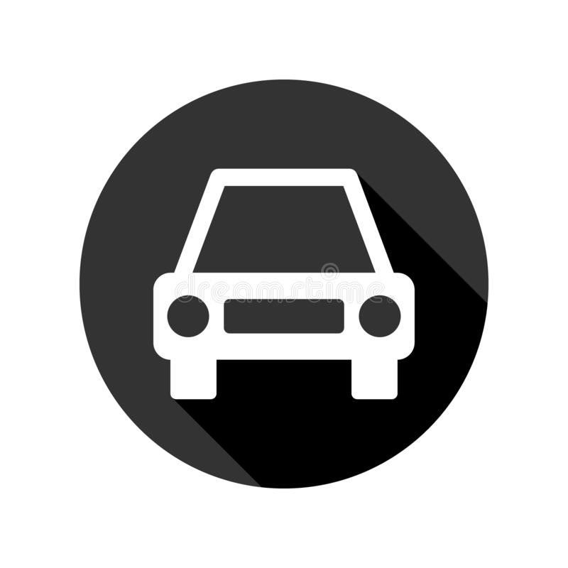 Car icon with long shadow, white isolated on black background, vector illustration. vector illustration