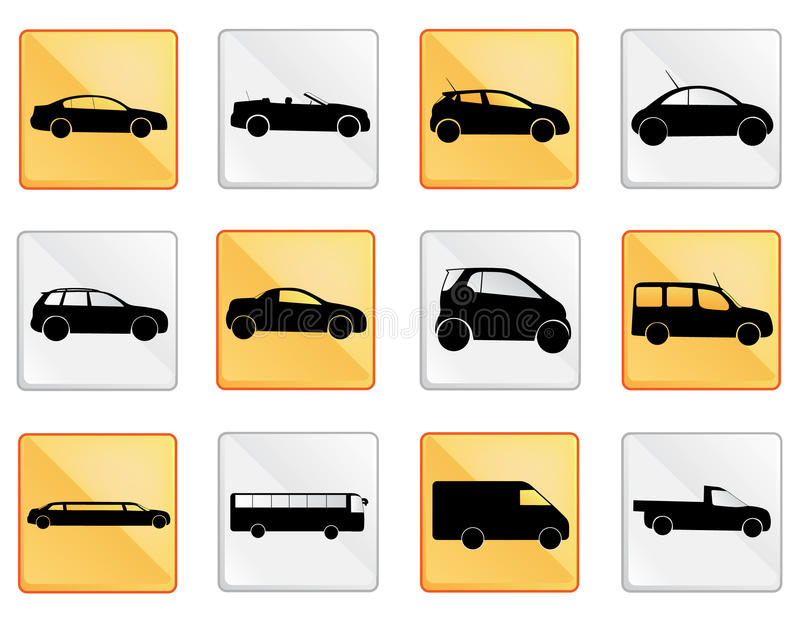 Car icon set 1. A set of car icons royalty free illustration